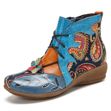 Paisley Splicing Leather Flat Ankle Boots