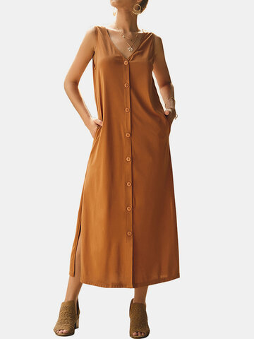 Solid Casual Strap Dress