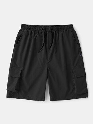 Drawstring Large Pocket Cargo Shorts