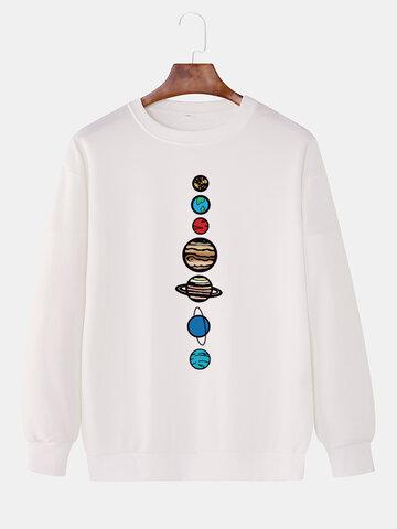 Cartoon Galaxy Pattern Print Sweatshirts