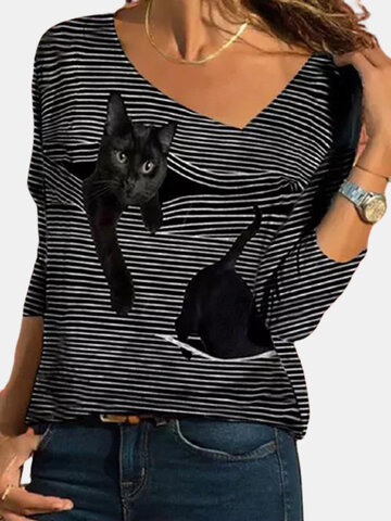 Cat Striped V-neck T-shirt