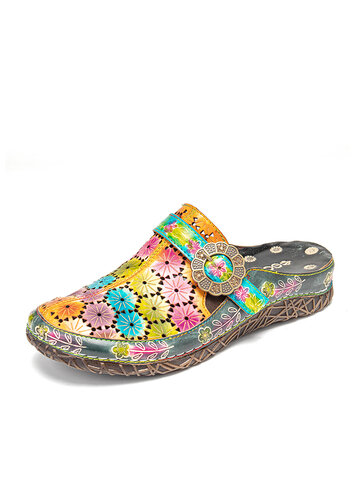 SOCOFY Arranged Flowers Hollow Out Slippers Mule Sandals