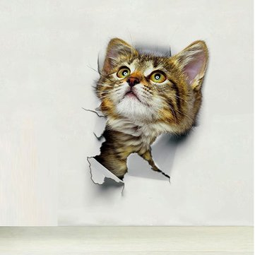 Cute Cat Wall Stickers Living Room Bedroom Decorations Creative 3D Animal Wall Stickers Bathroom  Toilet Stickers