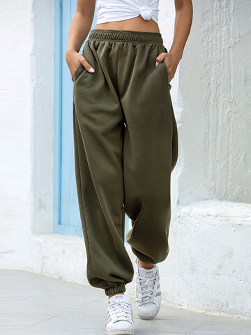 Solid Color Pleated Pocket Pants