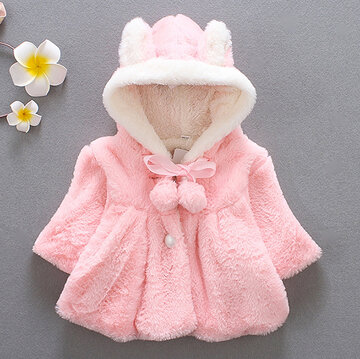 Baby Infant Girls Fur Winter Warm Coat для 6-36M