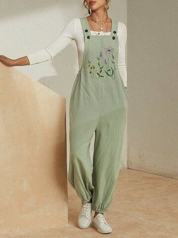 Flower Embroidery Loose Jumpsuit