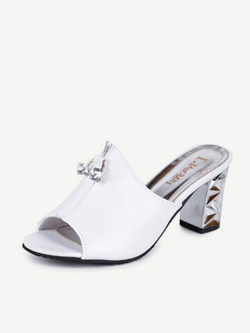 Women Fish Mouth Square Heel Sandals  Slippers
