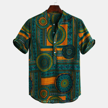 Ethnic Style Printed Short Sleeve Henley Shirts
