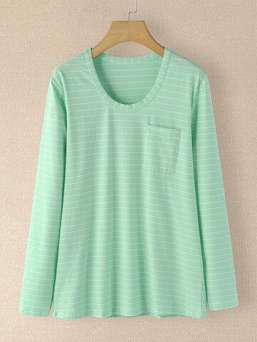 Stripe Print Pocket O-neck T-shirt