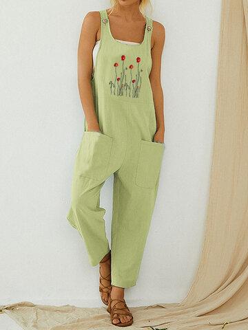 Flor bordado tiras jumpsuit casual para mulheres