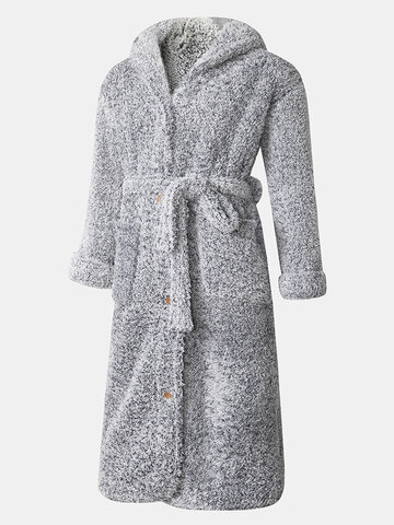 Plush Button Front Belted Hooded Robe
