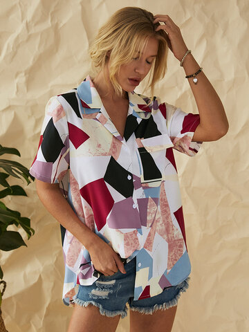 Geometric Patchwork Printed Lapel Shirt With Pocket