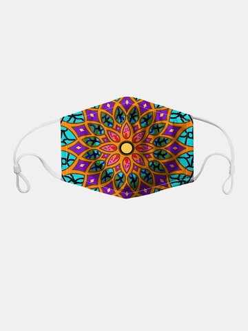 Floral Pattern Polyester Fashion Dustproof Mask With 7 Mask Gaskets
