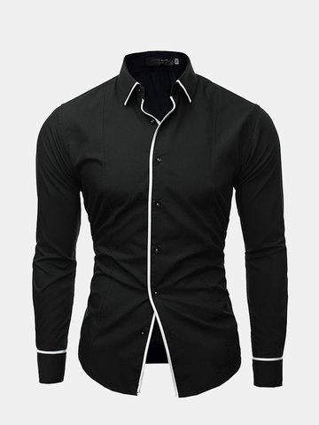 Mens Casual Button Down Shirt, White black navy