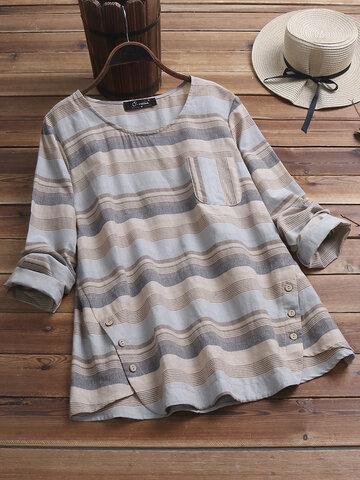 Vintage gestreifte Bluse mit Knopfleiste