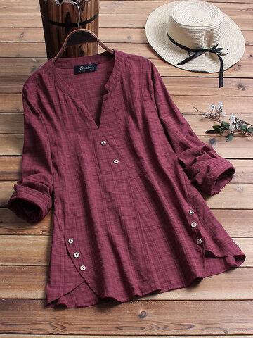 Vintage Plaid Side Button V-neck Shirt