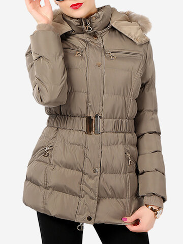 Faux Fur Hooded Quilted Coat