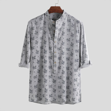 Mens Floral Printed Stand Collar Henley Shirts
