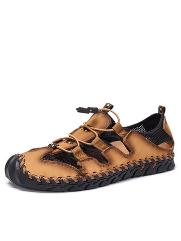 Men Hand Stitching Casual Leather Sandals