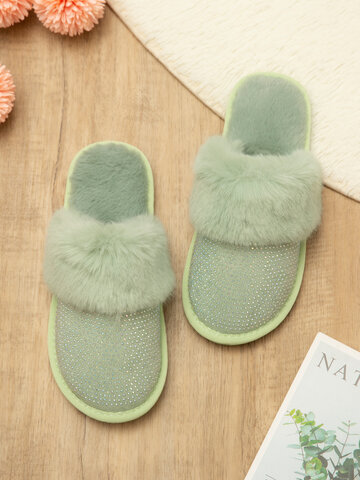Large Size Rhinestone House Furry Slippers