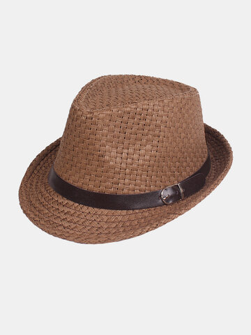 Solid Woven Belt Decorative Flexible Straw Hat