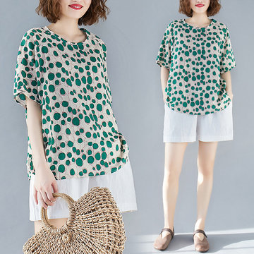 Retro Cotton And Linen Printed Short-sleeved Shirt Season New Large Size Loose Thin And Cool Green Wave Point Women's Shirt