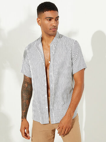Mens Striped Stand Collar Loose Shirts