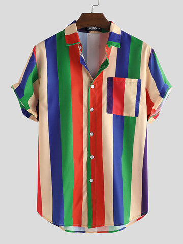 Cool Rainbow Striped Short Sleeve Shirts