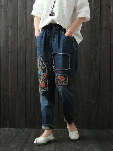 Embroidered Patchwork Drawstring Jeans, Dark blue