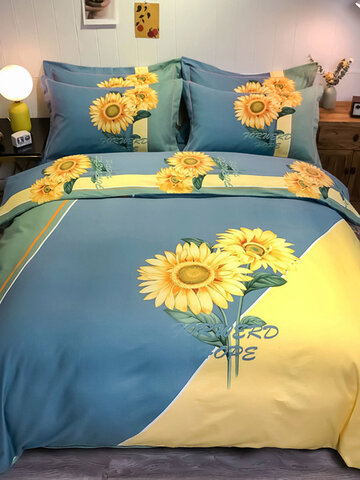 4Pcs Cotton Large Version Bedding Suit Of Thickened Pure Cotton Twill For Autumn And Winter