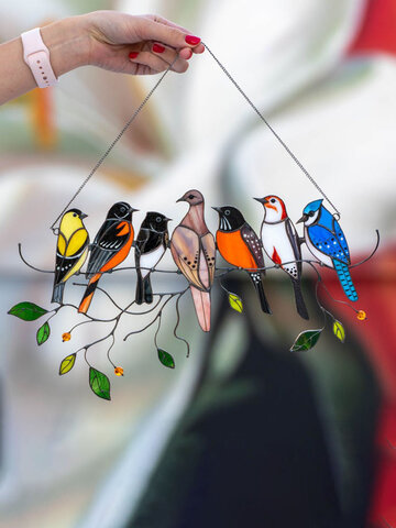 Mothers Day Gift Multiple Birds Glass Window Hangings Garden Suncatcher Acrylic Alloy Ornaments Home Patio Yard Decor