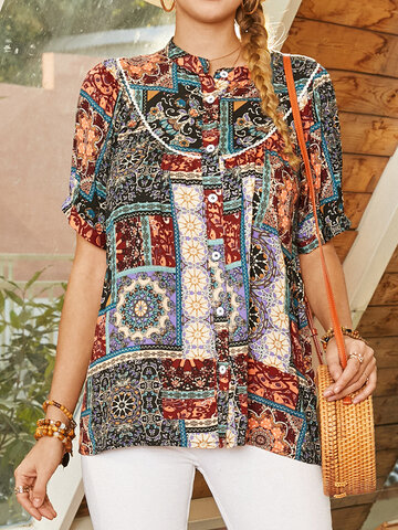 Bohemian Print Button Blouse