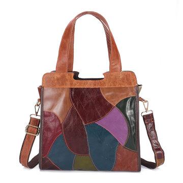 Damen Vintage Patchwork-Tasche aus echtem Leder Taschen