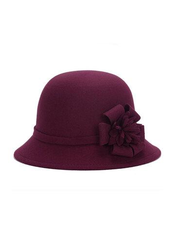 Women Vintage Flower Felt Bucket Cap