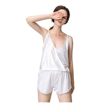 Ladies Sexy Silk Sling Pajamas Shorts Two-piece Thin Section Solid Color Ladies Silk Home Service, Black white