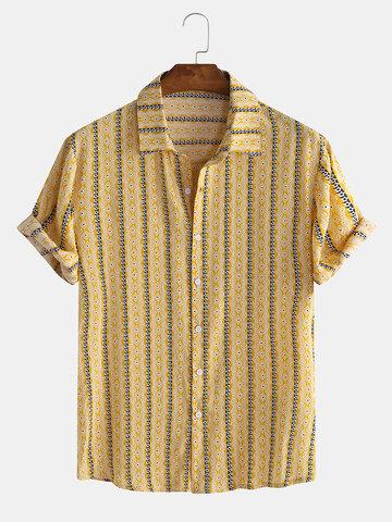 Estampado de rayas étnicas suaves y transpirables Camisa