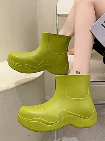 Candy-colored Wide Head Rain Boots