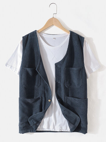 Corduroy Solid Relaxed Fit Vests