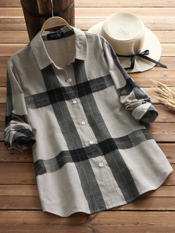 Vintage Plaid Long Sleeve Shirts