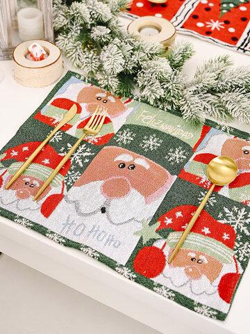 1 قطعة زينة عيد الميلاد محبوك القماش تحديد الموقع الإبداعية محبوك مفرش المائدة رجل عجوز شجرة صغيرة مفرش المائدة