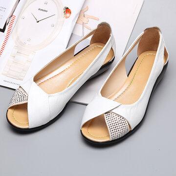 Sapatos Planos Respiráveis de Estilo Casual de Strass