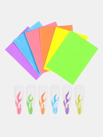 Fluorescent Flame Nail Stickers