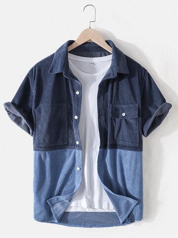 Patchwork Corduroy Lapel Shirts