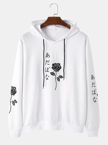 Rose Japanese Character Print Hoodies