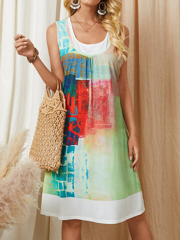 Abstract Painted Sleeveless Print Dress