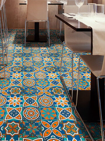 3D Retro Creative Pattern Floor Tile Sticker Diagonal Desk Wardrobe Art Mural DIY Decoration Waterproof Wall Sticker Floor Sticker