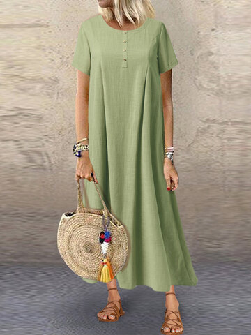 Casual Solid Color Button Dress