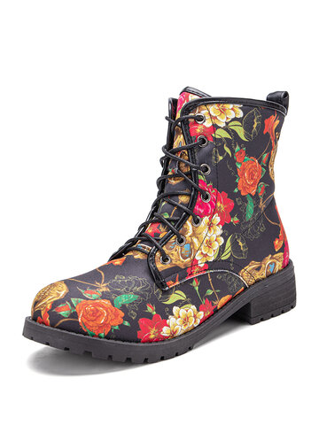 Flowers Printing Lace-Up Short Boots