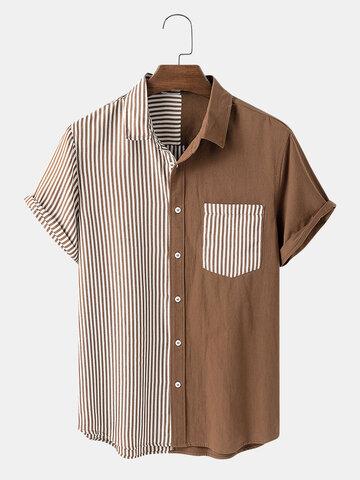 Camicie casual a righe e patchwork di design