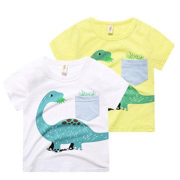 Dinosaur Print Boy T-shirt For 2-9Y, White yellow